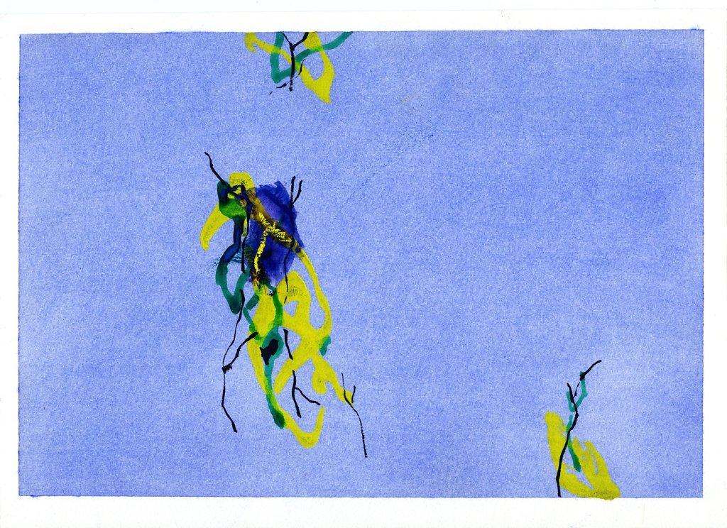 """""""Hiver"""" gouache et pigments/papier 21x29,7cm 2018"""