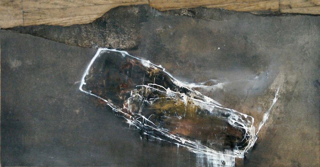 Souche , encres et huiles sur papier ,14x27,5cm 2019