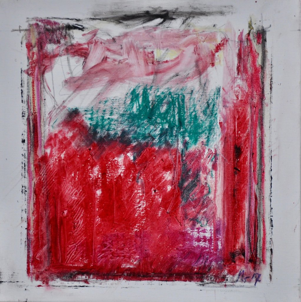 """""""Rouge 4"""" 2019 Huile/toile 40x40cm"""
